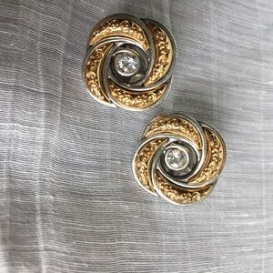 Brighton silver and gold clip earrings